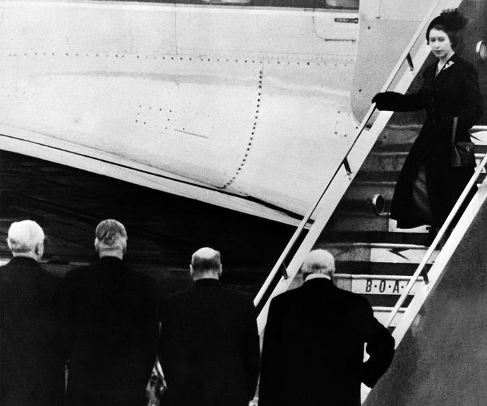Elizabeth's life changed forever on February 6, 1952. 62-years-ago, the Princess was on a royal tour of Kenya with her husband when the heartbreaking news of her father's death broke. It's believed Elizabeth was atop an African fig tree the moment she became a Queen. Here she is pictured returning back to England following the somber news.