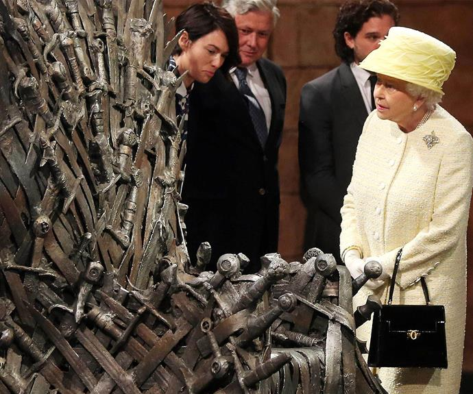 """""""I think I prefer my throne."""" Elizabeth showed no desire to sit on the *Game of Thrones'* Iron Throne. In fact, show-runner David Benioff explained that the Queen of England is not allowed to sit on a foreign throne. Who knew?!"""