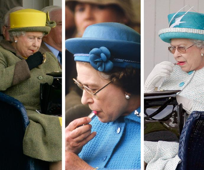 Not many sovereign rulers can get away with applying lippie at any location, at any time! But our Lizzie does...