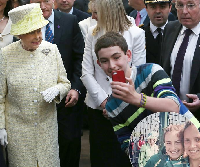 She's also the Queen of the selfie and she's not opposed to a royally good photobomb.