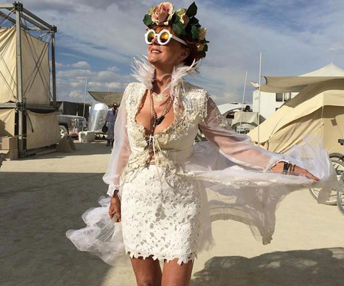 Free-spirited Susan being, well, free-spirited Susan at Burning Man festival.