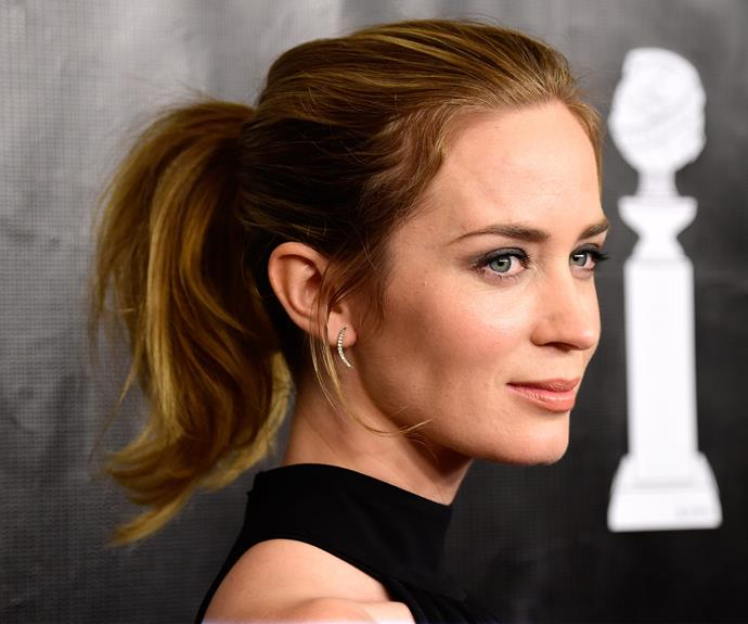 If braiding stresses you out, let's return to the classic and never-scary ponytail. Emily Blunt is whipping it with her ponytail game.