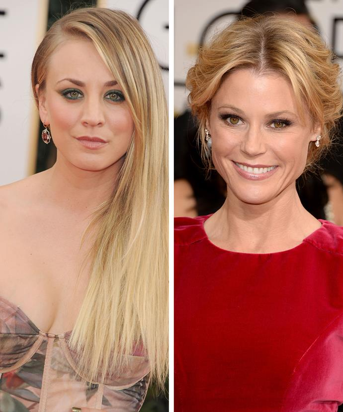 Kaley Cuoco-Sweeting (L) tied with Sofia as the highest-paid TV actress of 2015, while *Modern Family* star Julie Bowen came third.