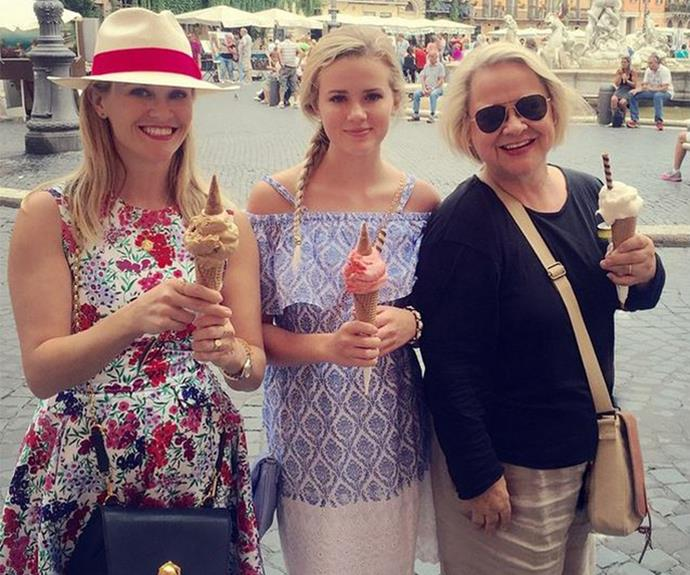 Three generations of Witherspoon women enjoying gelato in Italy!