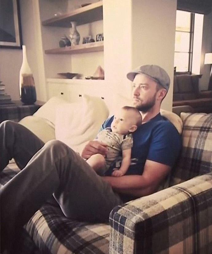 Silas has clearly inherited JT's love of sports! Here the pair are watching the PGA championship intently. (Photo: Justin Timberlake via Fallon Tonight)