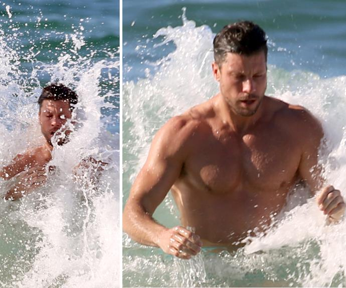 Sam Wood vs Bryon's Waves: Not even a rough swell was a match for Sam's Adonis physique.