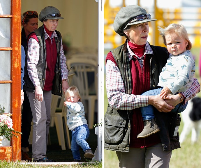 Anne, Princess Royal, 65, played the role of the doting Granny during the event as she kept little Mia completely entertained.