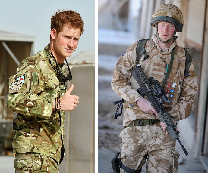 "Serving and fighting for his nation has been core to Harry's life. During an interview when he was just 21, he said, ""There's no way I'm going to put myself through Sandhurst [Military Academy] and then sit on my arse back home while my boys are out fighting for their country."""