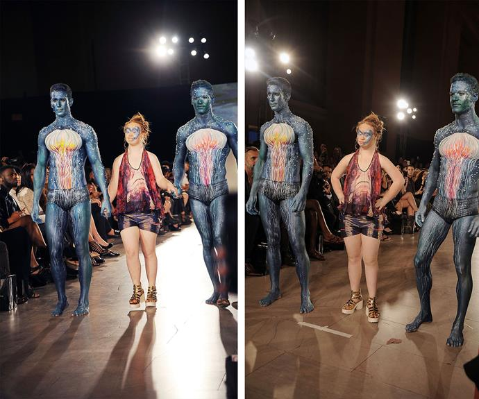 Maddy was in her element as she strutted the runway with two hunky models by her side.