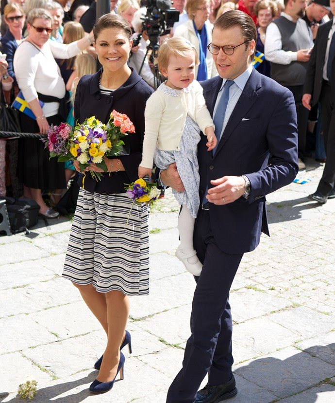 Princess Victoria of Sweden and her daughter Princess Estelle were present while Prince Daniel was absent due to a cold.