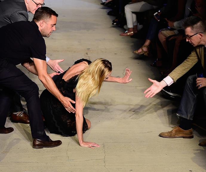 The 29-year-old suffered a spectacular tumble at the Givenchy SS16 runway at New York Fashion Week in 2015.