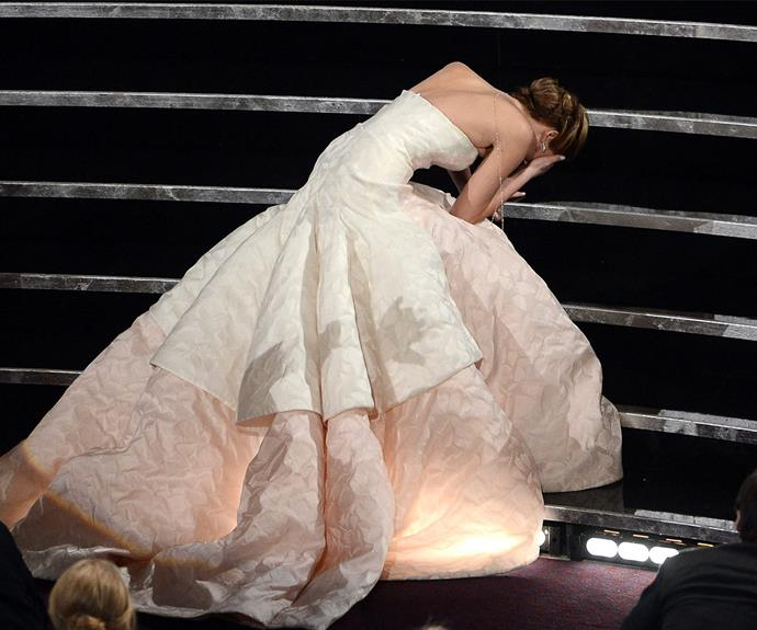 "Although this isn't technically a catwalk catastrophe, surely the Oscars are the world's biggest runway? [**Jennifer Lawrence's**](https://www.nowtolove.com.au/celebrity/celeb-news/jennifer-lawrence-on-boyfriend-darren-aronofsky-29155|target=""_blank"") 2013 stack as she made her way to the stage to accept the Best Actress Academy Award for *Silver Linings Playbook* will go down in the history books..."