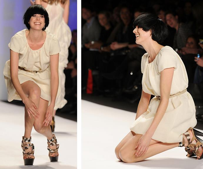 In 2010, British model Agyness Deyn was defeated by her chunky kicks during Naomi Campbell's Fashion For Relief Runway in New York.