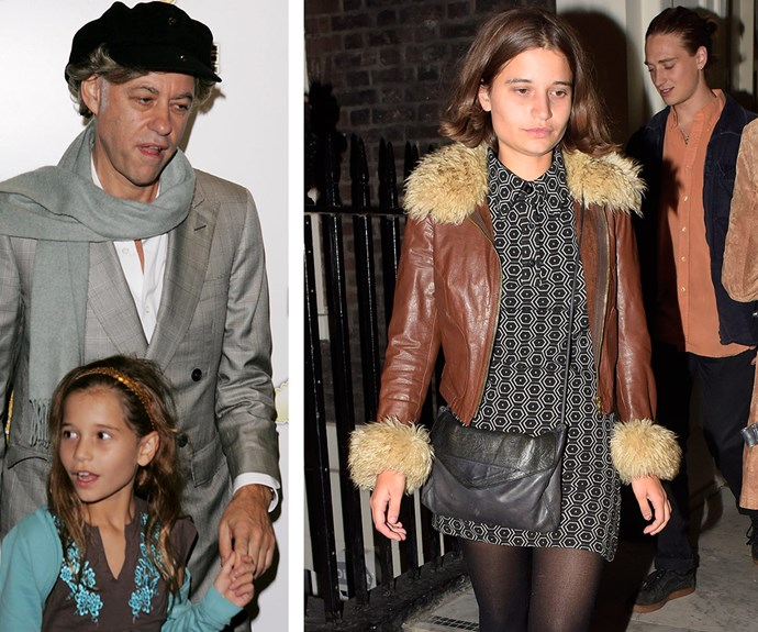 Paula's ex-husband Sir Bob Geldof (pictured on the left in 2005 with Tiger, and on the right the 20-year-old leaves good friend Nick Grimshaw's birthday party in September 2015) legally adopted her so she could grow up with her sisters.