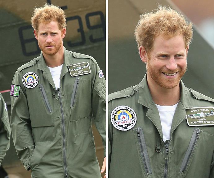 The Prince sported his handsome facial hair earlier this week on his [31st birthday at a historic flypast ceremony.](http://www.womansday.com.au/royals/british-royal-family/prince-harry-gives-back-to-a-war-veteran-13666)