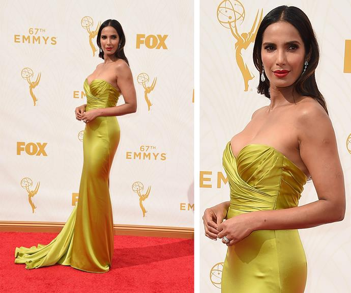 Padma Lakshmi is a breath of fresh air in a vibrant lime silk strapless gown.