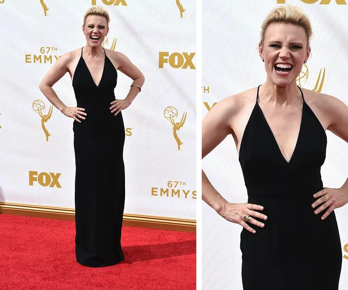 Kate McKinnon puts away her *Ghostbusting* hat for the day. The former *SNL* actress looks amazing in a classic black halter.