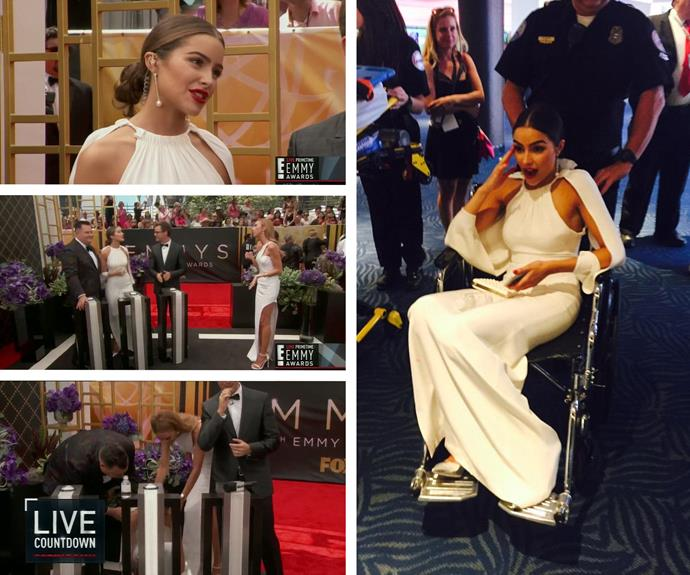 "Talk about sweltering heat! Former Miss Universe USA Olivia Culpo, who was presenting the show with *E!* News, almost fainted on the red carpet. With the weather soaring to over 36 degrees, it's no wonder the dehydrated beauty queen felt faint. Taking to Twitter, Olivia shared a snap in a wheelchair with the caption: ""OMG it is SO HOT out here. Literally just almost passed out."" Thankfully she is ok!"
