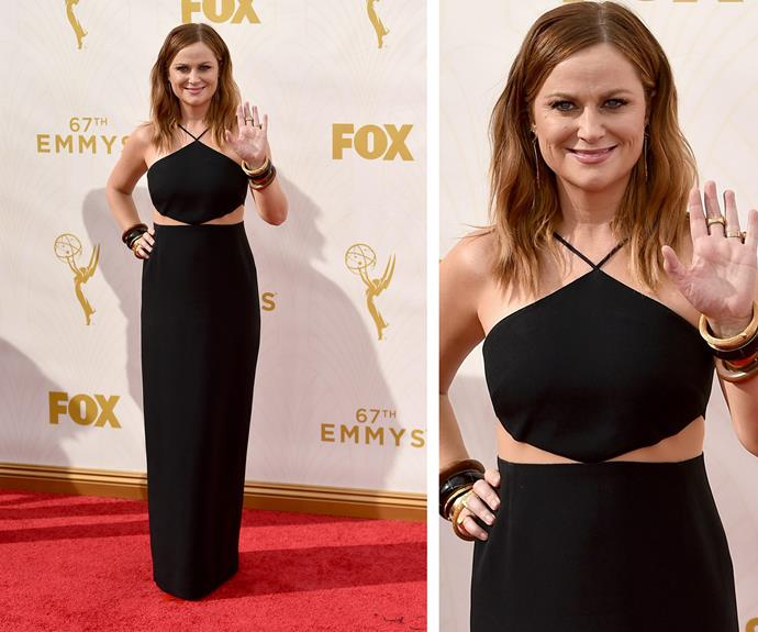 High-five to Amy Poehler, who cuts sensational silhouette in this black number. The mum-of-two and all-round funny lady finished off her look with layered bracelets and ombre, tousled locks. The 44-year-old is up for three gongs.