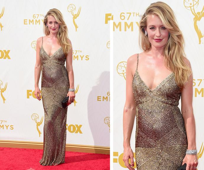 Pregnant Cat Deeley's gold dress is a dancing delight! The *So You Think You Can Dance* host is ravishing in the fitted dress... while her stunning blonde locks are the greatest co-star a gal could ask for.