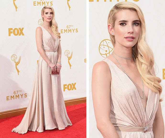 Emma Roberts has taken a note out of her Auntie Julia's book. She is exquisite in her long gown.