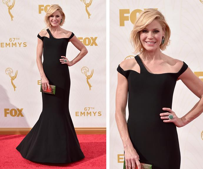 Julie Bowen might play the over-tired mum in *Modern Family* but she has transformed into a red carpet beauty for the Emmys! The shoulder cut-outs and statement ring bring her look to the next level.