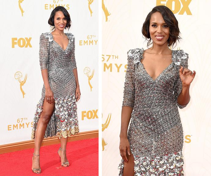 It is scandalous how phenomenal Kerry Washington looks. We love the retro Twenties vibe the actress is channelling with this beaded silver dress.