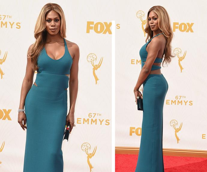 *Orange is the new Black* star Laverne Cox is bold and beautiful in turquoise.
