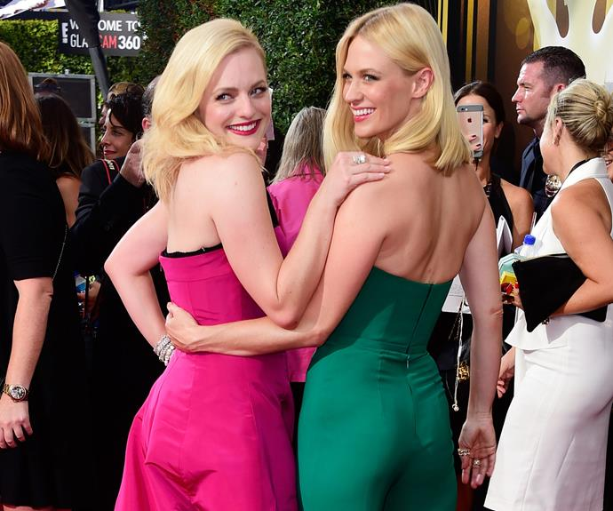 We're going mad over former co-stars, Elisabeth Moss and January Jones. Bringing the '60s to the 21st century, the *Mad Men* stars look fabulous as they cuddle up together.