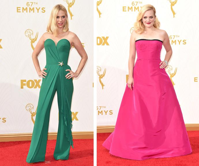 These blondes do have more fun! We adore how bold January Jones and Elisabeth Moss' choices are this season.January totally rocks the jumpsuit while Elisabeth is princess perfect in a hot pink strapless gown.