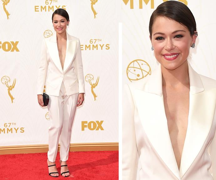 Power to the suit! Tatiana Maslany turns heads in this stunning crisp white suit.