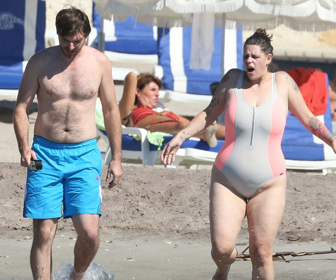Fifi Geldof, 32, and her fiancée Andrew Robertson braved the cool water for a refreshing dip.