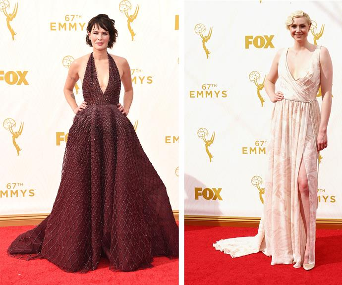 On *Game of Thrones* these ladies may kill, but now Lena Headey and Gwendoline Christie have frocks to die for! Lena serves up power and seduction in her red-halter, while Gwendoline is the classic English rose.