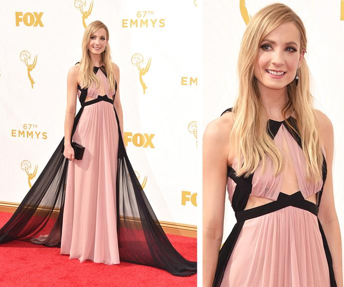 No maid in sight! Joanne Froggatt is the belle of the ball in this pink frock.