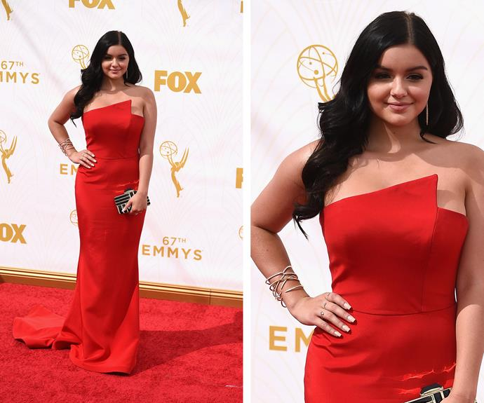 The *Modern Family* actress looked red hot in her strapless scarlet gown and was all smiles, showing off her new body!