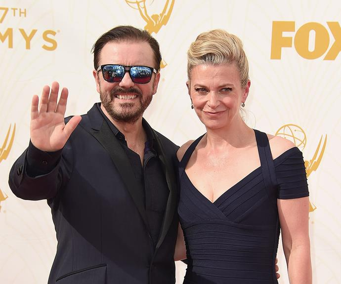 Nominee Ricky Gervais worked a coordinating all-black ensemble with his other half Jane Fallon.