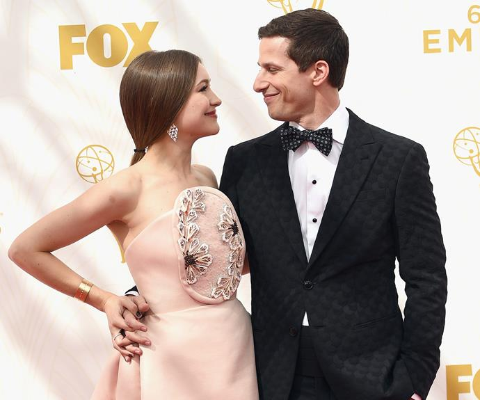 The show's host Andy Samberg couldn't keep his eyes off his divine wife, Joanna Newsom.