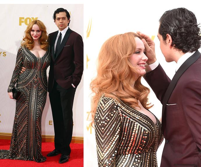 Seriously sizzling! Christina Hendricks stunned in a plunging embellished frock while her hubby Geoffrey Arend rocked a deep maroon suit.
