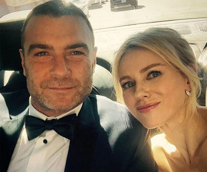 """Ahead of their big night, the *Birdman* beauty shared this rare selfie and gushed, """"About to hit the #Emmys2015 red carpet on the arm of @RayDonovan himself! #talentcrush #mybabydaddy."""""""