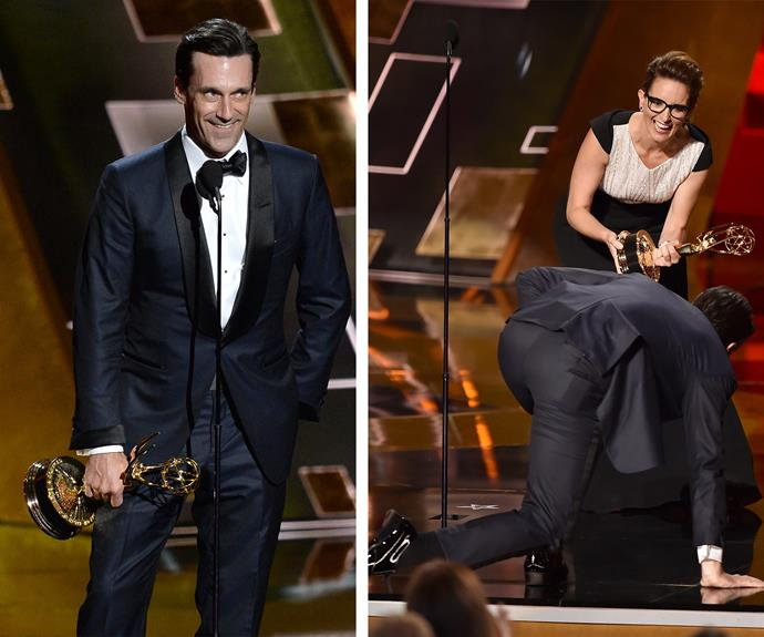 "After 16 Emmy nominations, Jon Hamm won his first award for his role in *Mad Men*. Showing his humorous side, Jon clawed his way on to the stage where he joked: ""There's been a terrible mistake, clearly. Thank you for that."" Before saying: ""This is impossible. It's impossible to win all of those extraordinary gentlemen. It's impossible to be standing up here. It's impossible to have done the show with this incredible cast… And it's impossible for me personally to be standing here. So I want to thank the people to whom I owe an incredible debt."""