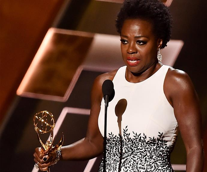 "Viola Davis became the first African American star to win the Emmy for Lead Actress in a Drama for her role in *How to Get Away with Murder*. ""Let me tell you something, the only thing that separates women of colour from anyone else is opportunity. You cannot win an Emmy for roles that are simply not there. So here's to all the writers, the awesome people who have redefined what it means to be beautiful, to be sexy, to be a leading woman, to be black,"" she explained in her powerful speech."