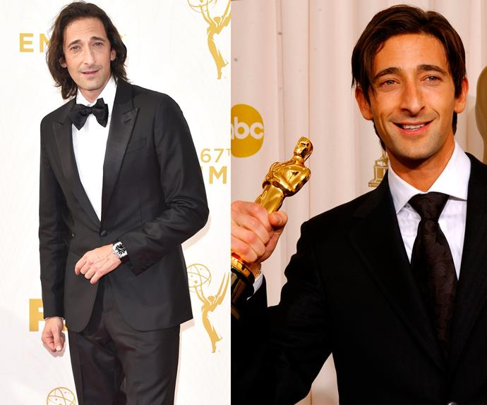 The usually suave Adrien Brody, pictured at the Oscars in 2003 on the right, unveiled a more laid-back look (L).