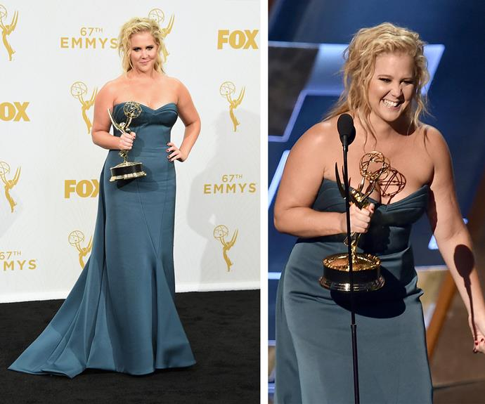 Amy Schumer bagged her first Emmy win and the hilarious actress dedicated it to her sister!