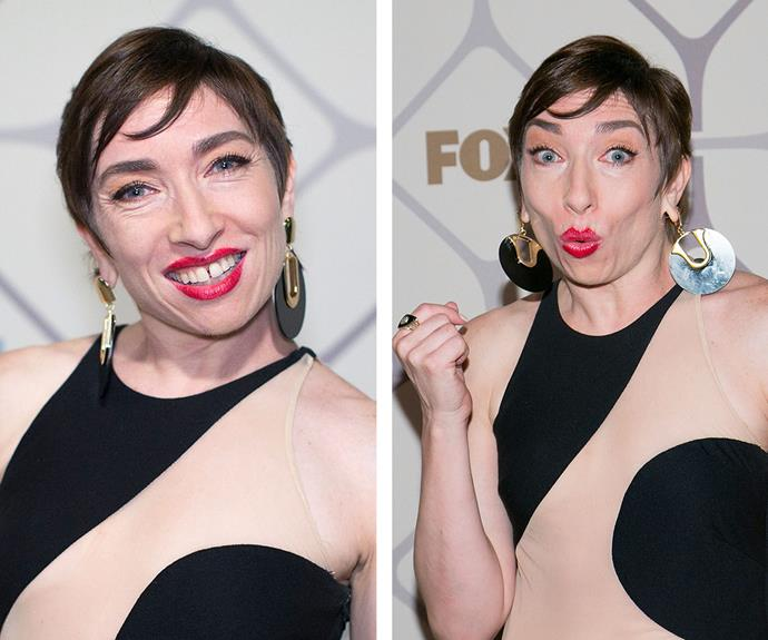 She finished off her look with a timeless red lip, metallic statement earrings and a sleek pixie cut.