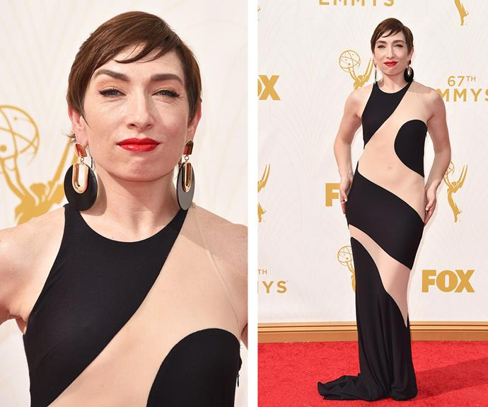 Natalie looked flawless in a figure-hugging black and beige patterned gown as she attended the [2015 Emmy Awards in LA on Sunday night.](http://www.womansday.com.au/style-beauty/red-carpet/2015-emmy-awards-red-carpet-13695)