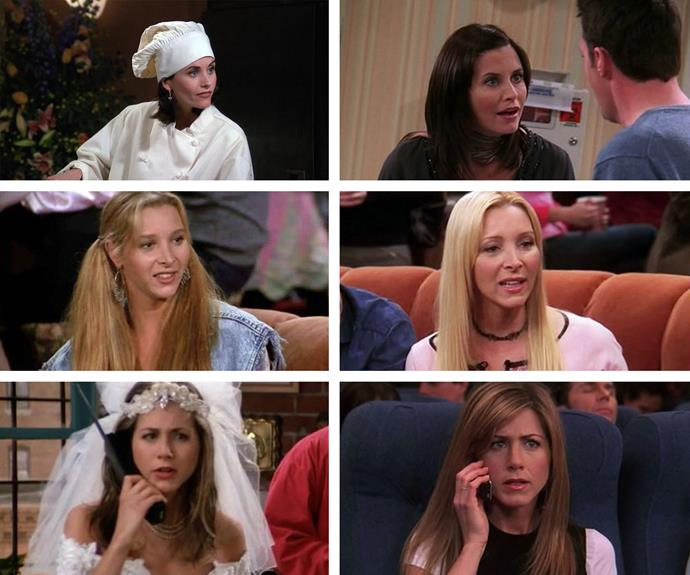 Leading ladies! Monica, Phoebe and Rachel in their first (L) and last episode (R)