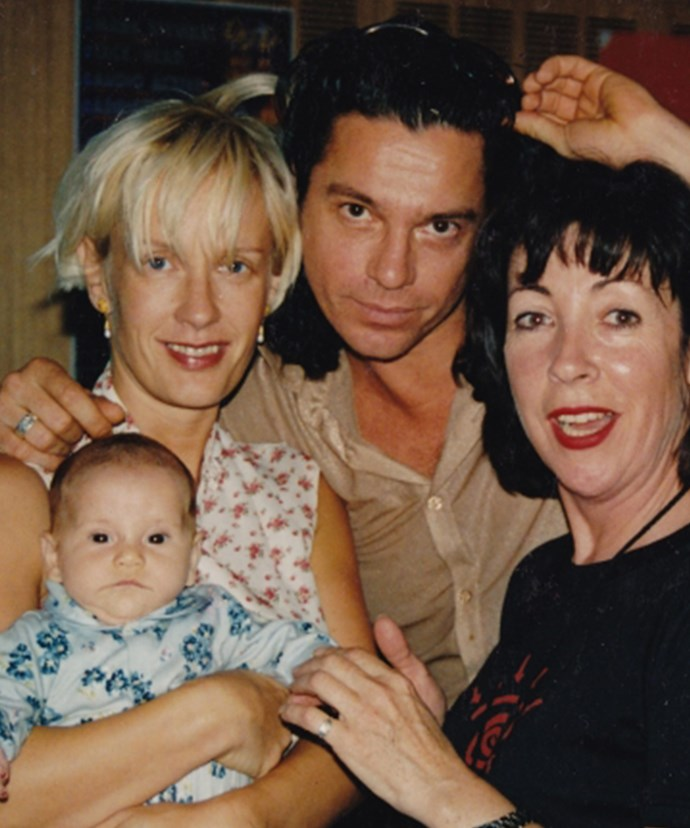 Baby Tiger with her parents Paula and Michael, plus an Aussie radio host.