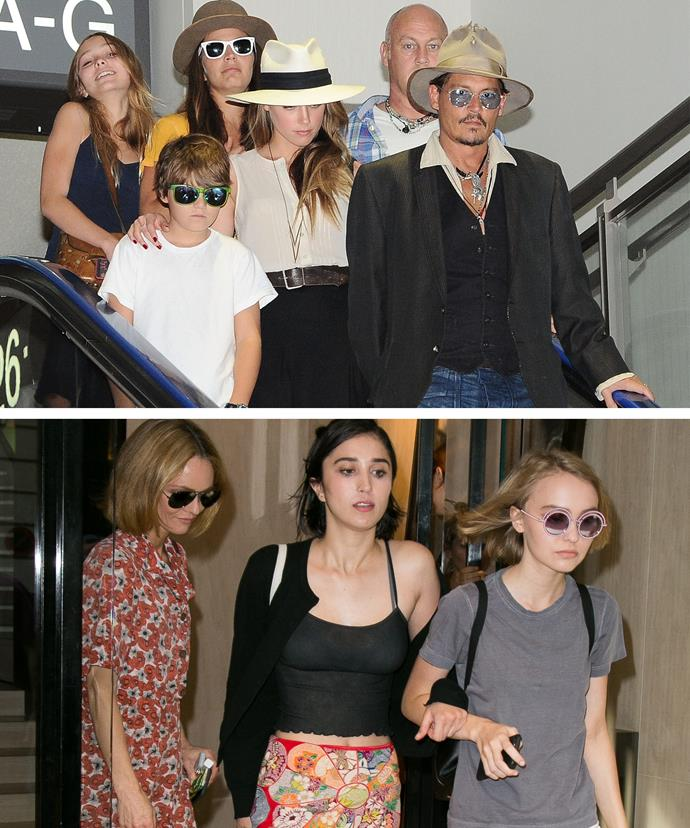 Lily-Rose [on the top] with her dad Johnny, and step-mum, Amber Heard. [Below] the teen with her model mum, Vanessa Paradis.