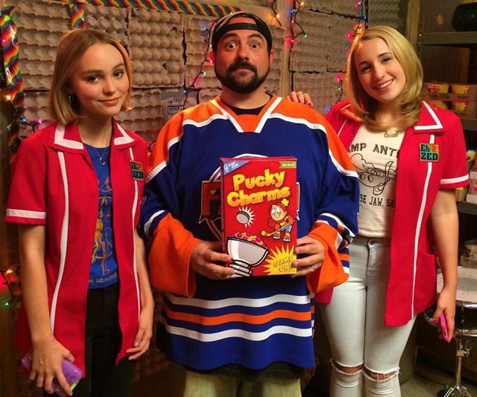 Lily-Rose with Kevin Smith from his film, *The Yoga Hosers*.