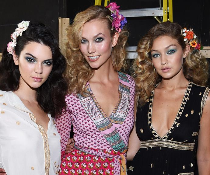 Karlie Kloss ignited our beauty inspo alongside fashion *it* girls, Kendall Jenner and Gigi Hadid at Diane von Furstenberg's Spring 2016 catwalk. The fashionistas had us spinning around circa *Studio 54* with their fab huge curls and bright flower clips behind their ears. The perfect spring/summer do that will have you dancing the night away!